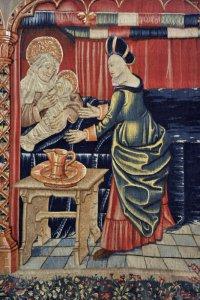 """La naissance de la Vierge, """"Tentures de la Vie de la Vierge"""" (achevées en 1500) de la collegiale Notre-Dame de Beaune (21), France."""