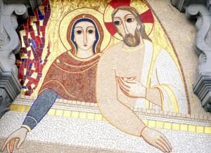 Détail de la mosaïque sur la façade de la basilique Notre-Dame du Rosaire à Lourdes