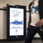 23 avril 2019 : Campagne d'appel aux dons, dans le métro parisien, suite à l'incendie de la cathédrale Notre-Dame de Paris. Paris (75), France.