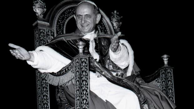 Pape Paul VI en la basilique Saint- Pierre au Vatican, Rome, Italie, 1966.