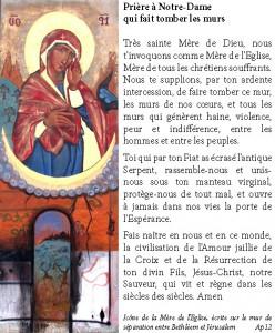 Prière à Mariequi fait tomber les murs