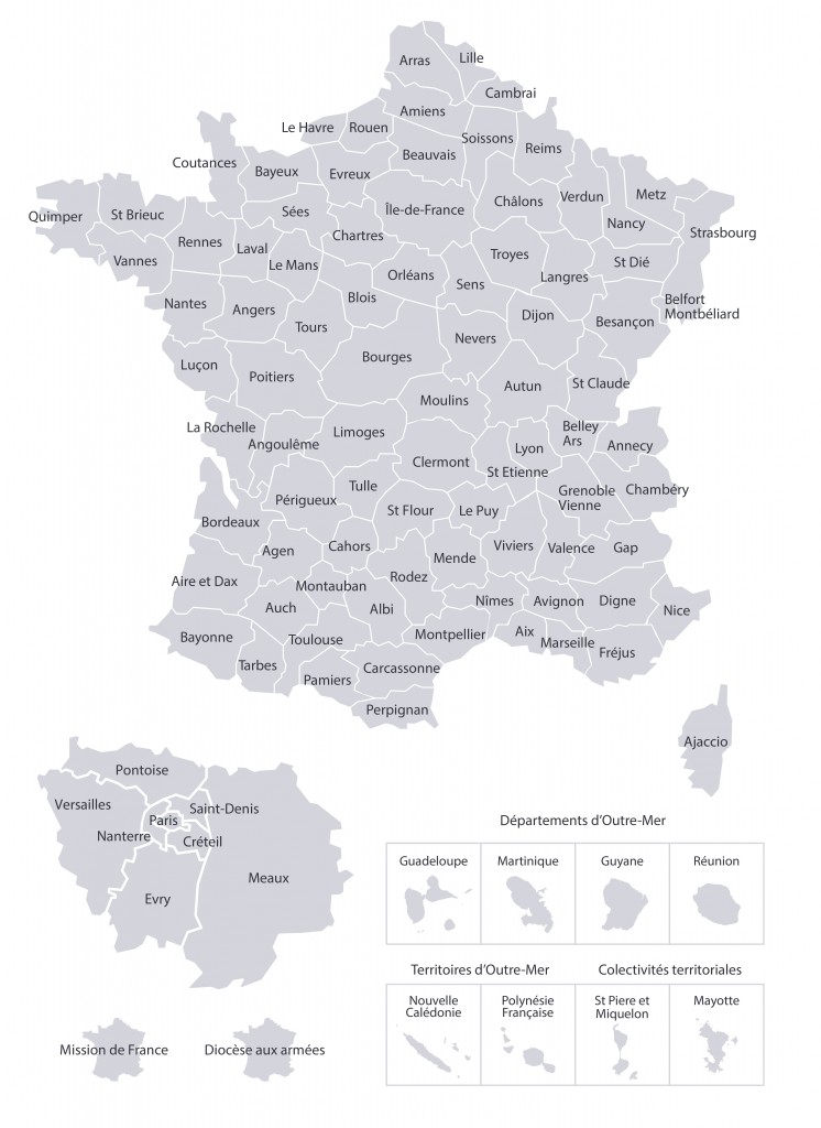 carte des diocèses vers les sites denier