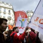 Manifestation des jeunes de la JOC à Paris contre la réforme des retraites