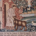 Reproduction de la tapisserie d'Arras « Saint Vaast et l'ours »