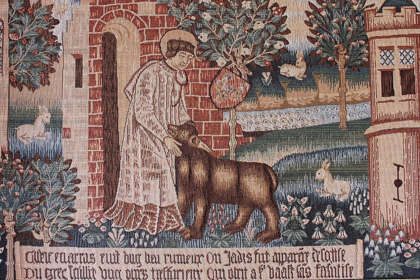 Reproduction de la tapisserie d'Arras « Saint Vaast et l'ours »