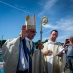15 août 2013 : Mgr Nicolas SOUCHU, évêque auxiliaire de Rennes, lors du Pardon de Notre-Dame de la Miette, le Minihic-sur-Rance (35), France.  August 15, 2013: Breton Pardon (forgiveness), Minihic-sur-Rance (35), France.