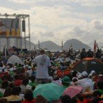 28 juillet 2013 : Messe de clotûre des JMJ 2013 sur la plage de Copacabana, avec plus de trois millions de personnes. Rio de Janeiro, Brésil.  July 28, 2013: Closing Mass of WYD 2013 on Copacabana's beach with more than 3 millions people. Rio de Janeiro, Brazil.