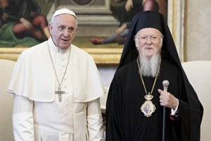 26 mai 2018 : Le pape François reçoit en audience privée Bartholomée Ier, patriarche œcuménique de Constantinople (Eglise orthodoxe). Vatican. May 26, 2018: Pope Francis meets Ecumenical Patriarch of Constantinople Bartholomew I during a Private Audience at the Vatican