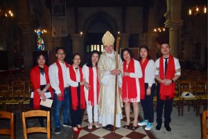Mgr Delannoy et communauté chinoise