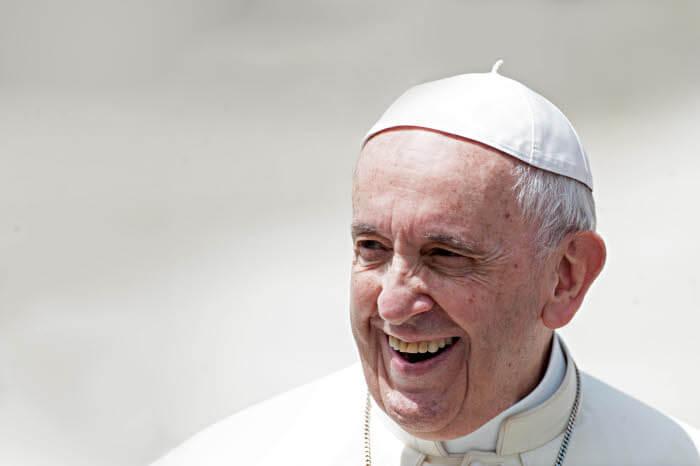 23 mai 2018 : Portrait du pape François pris durant l'audience générale au Vatican.  May 23, 2018: Pope Francis leads the weekly general audience at the Vatican.