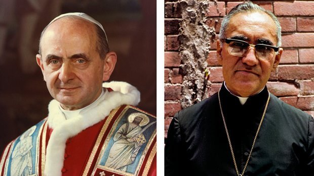 Pope Francis has cleared the way for the canonizations of Blesseds Paul VI and Oscar Romero. They are pictured in undated combination photos. (CNS photos/files/Octavio Duran) See POPE-SAINTS-CAUSES March 7, 2018.