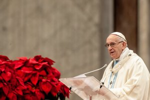 1 janvier 2019 : Célèbration de la Solennité de Sainte-Marie Mère de Dieu, homélie du pape François durant la messe pour la paix qu'il préside en la Basilique Saint-Pierre, au Vatican. January 1, 2019 : Pope Francis speaks during the Holy Mass on the Solemnity of Mary, Mother of God in Saint Peter's Basilica in the Vatican.