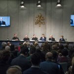 "18 février 2019 : Conférence de presse présentant la rencontre internationale sur la protection des mineurs dans l'Eglise, voulue par le Pape François qui aura lieu du 21 au 24 février. Vatican.  February 18, 2019 :Pess conference at the Press Office of the Holy See, on the meeting ""The protection of minors in the Church"" to be held in the Vatican from 21 to 24 February 2019. Vatican."