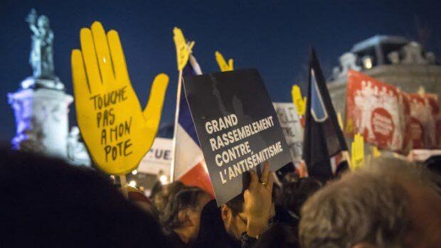 19 février 2019 : Rassemblement contre l'antisémitisme, place de la République. Paris (75), France.