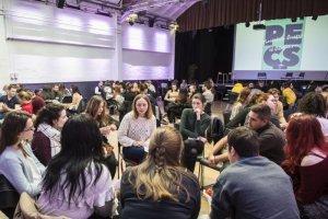 """19 mars 2019 : Des jeunes de la plateforme ecclésiale du service civique (PESC) sont réunis pour une journée de formation civique et citoyenne sur le thème """"De l'écologie à l'environnement"""". Paris (75), France."""