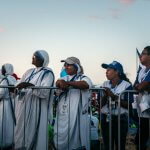 26 janvier 2019 : Journées mondiales de la jeunesse. Missionnaires de la Charité attendant le pape François au Campo San Juan Paul II (Saint Jean Paul II). Ville de Panama, Panama.