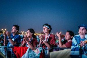 26 janvier 2019 : Journées mondiales de la jeunesse. Pendant la veillée de prière du samedi soir, 600.000 personnes étaient rassemblées au Campo San Juan Paul II (Saint Jean Paul II). Ville de Panama, Panama.