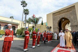 30 mars 2019 : Le pape François et le roi MOHAMMED VI au Palais royal, à Rabat, Maroc. DIFFUSION PRESSE UNIQUEMENT. EDITORIAL USE ONLY. NOT FOR SALE FOR MARKETING OR ADVERTISING CAMPAIGNS. March 30, 2019: Pope Francis and King Mohammed VI of Morocco at the Royal Palace in the Moroccan capital Rabat.