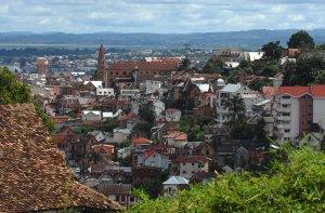 Février 2007: Vue prise du haut Antananarivo, Madagascar, Afrique.
