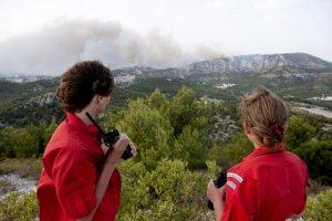 19 juillet 2009: Mission de surveillance des forêts avec les Pionniers, Caravelles et Compagnons (Scouts et Guides de France) de Marseille à Luminy (13), France.