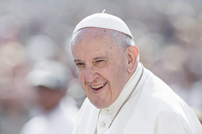 18 septembre 2019 : Portrait du pape Fançois à son arrivée à l'audience générale au Vatican.  September 18, 2019: Pope Francis leads his weekly general audience. Vatican.