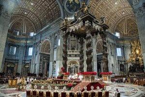 6 janvier 2019 : Le pape François célèbre la messe de l'Epiphanie en la basilique Saint Pierre au Vatican. January 6, 2019: Pope Francis celebrates the Mass for the Epiphany of the Lord in St. Peter's Basilica at the Vatican.
