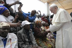 6 septembre 2019 : Le pape François visite l'hôpital de Zimpeto à Maputo, Mozambique. DIFFUSION PRESSE UNIQUEMENT. EDITORIAL USE ONLY. NOT FOR SALE FOR MARKETING OR ADVERTISING CAMPAIGNS. September 6, 2019: Pope Francis at the Zimpeto Hospital, in Maputo, Mozambique.