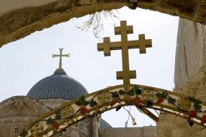 13 ao¿t 2009 : Entrée de la Basilique du Saint Sépulcre. Jérusalem, Israël, Moyen-Orient. 13th of august 2009 : Entrance of the Holy Sepulchre Basilica. Jerusalem, Israel.