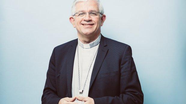 6 novembre 2019 : Portrait de Mgr Olivier LEBORGNE, évêque d'Amiens, vice-président du Conseil permanent de la de Conférence des évêques de France (CEF). Lourdes (65), France.