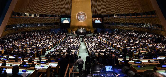 25 septembre 2015 : Voyage du pape François aux Etats Unis. Discours du pape François lors de sa visite au Siège de L'organisation des Nations Unies (ONU) à New York, Etats Unis d'Amérique.  September 25 2015 : Pope Francis speaks during the 70th session of the United Nations General Assembly at the United Nations in New York City, United States of America.