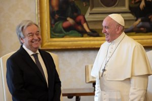 20 décembre 2019 : Le pape François reçoit en audience privée Antonio GUTERRES, secrétaire général des Nations Unies. Vatican. December 20, 2019: Pope Francis receives in audience Antonio GUTERRES, United Nations Secretary-General. Vatican.