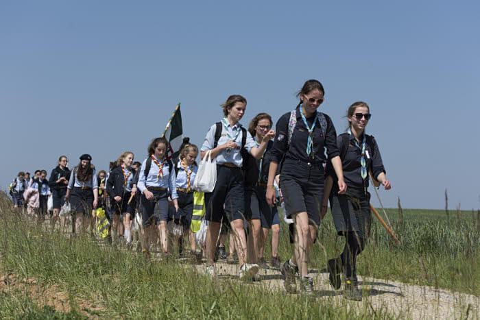 20 mai 2018 : Pèlerinage inter-scout pour la paix, sur les pas des soldats de 1914, dans le cadre des commémorations de la première guerre mondiale, en Seine-et-Marne. Meaux (77), France.